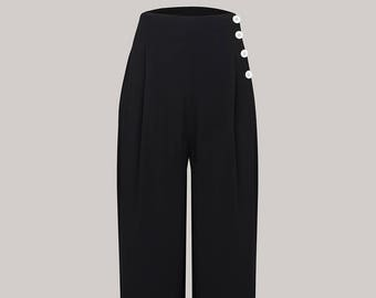 Audrey Trousers in Black by The Seamstress of Bloomsbury | Authentic Vintage 1940's Style