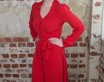 Clarice Dress in Red by The Seamstress of Bloomsbury | Authentic Vintage 1940's Style
