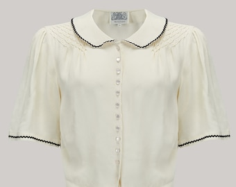 41ccfaea56a670 Helen Blouse in Cream (Black Ric-Rac) by The Seamstress of Bloomsbury