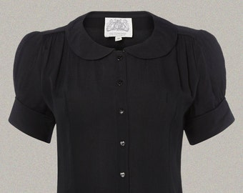 Jive Blouse in Black by The Seamstress of Bloomsbury | Authentic Vintage 1940's Style