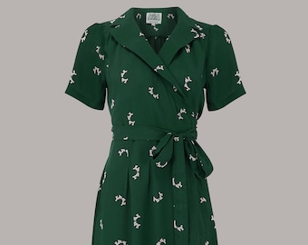 Peggy Wrap Dress in Green Doggy by The Seamstress of Bloomsbury | Authentic Vintage 1940's Style