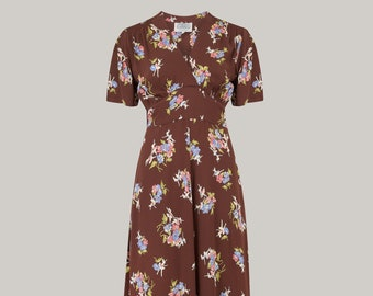 2dc1d5df3e9 Dolores Dress in Brown Floral by The Seamstress of Bloomsbury