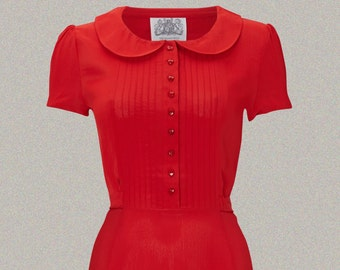 Dorothy Dress in 40's Red by The Seamstress of Bloomsbury | Authentic Vintage 1940's Style