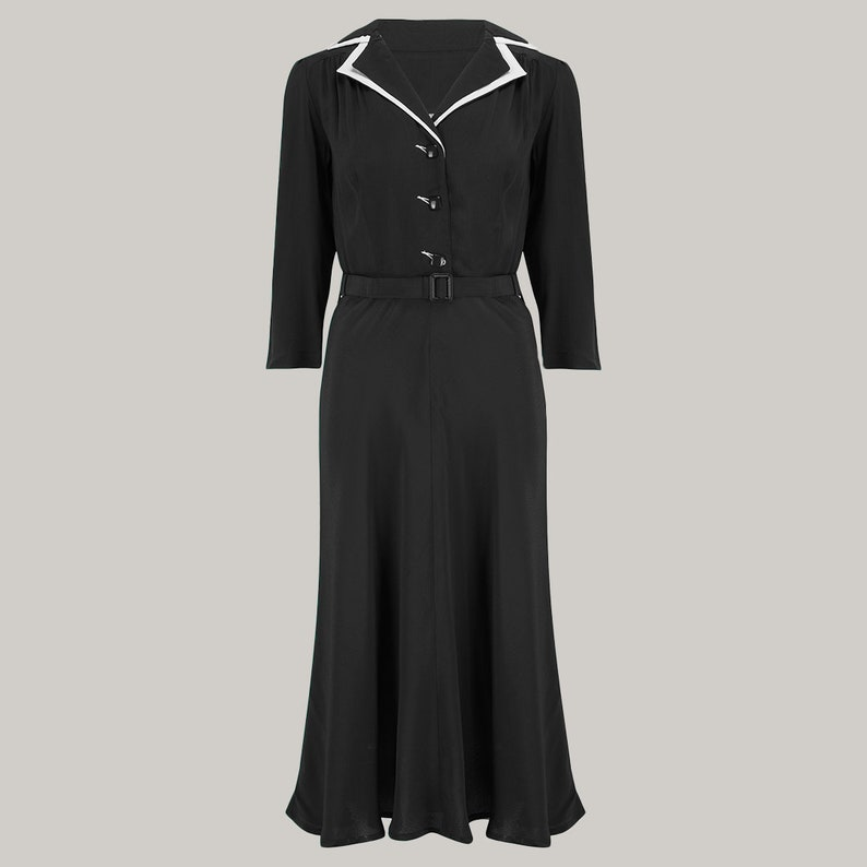1940s Dresses | 40s Dress, Swing Dress, Tea Dresses Lisa-Mae Shirtdress in Black by The Seamstress of Bloomsbury | Authentic 1940s Style Designs $119.27 AT vintagedancer.com