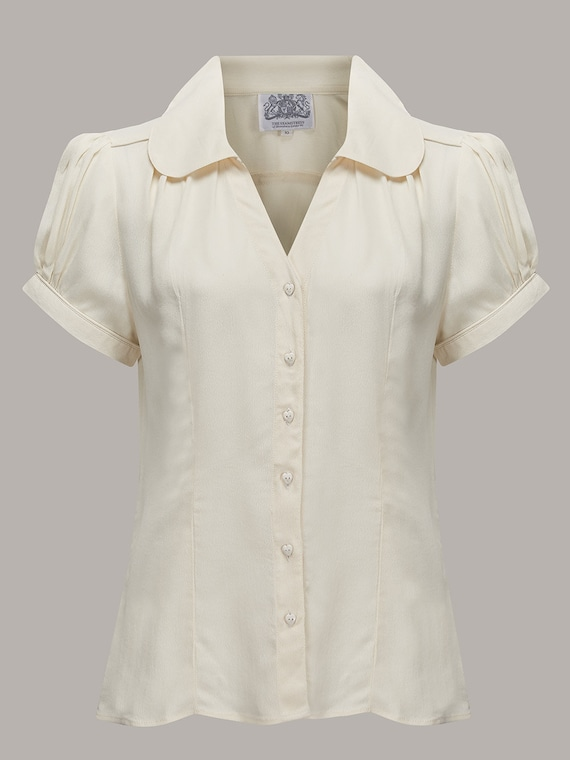 1940s Blouses and Tops Judy Blouse in Cream by The Seamstress of Bloomsbury | Authentic Vintage 1940s Style $51.56 AT vintagedancer.com