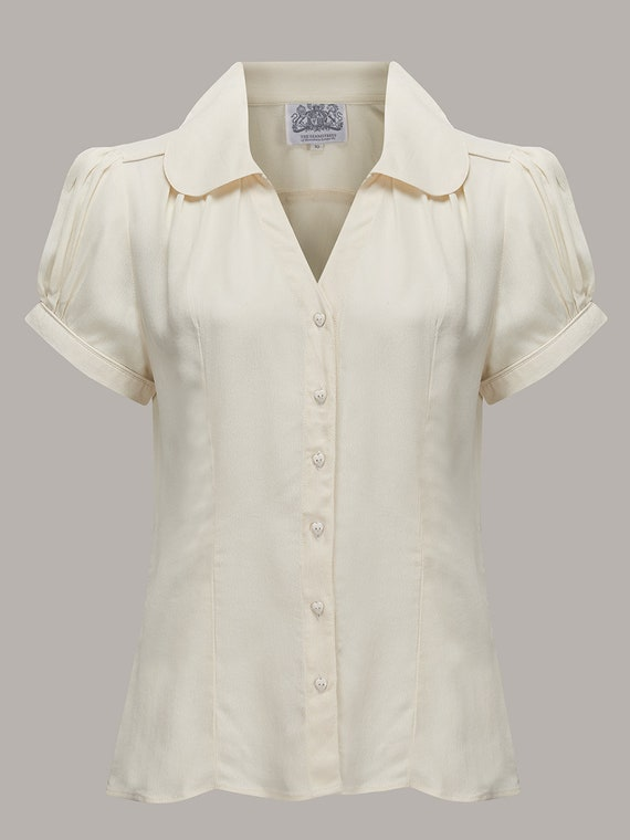 1940s Dresses and Clothing UK | 40s Shoes UK Judy Blouse in Cream by The Seamstress of Bloomsbury | Authentic Vintage 1940s Style $51.56 AT vintagedancer.com