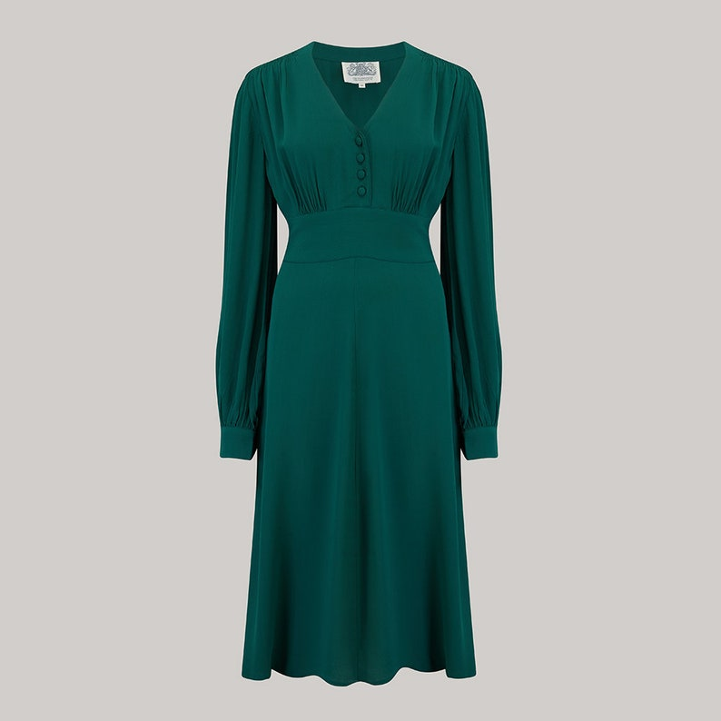 1940s Dresses | 40s Dress, Swing Dress Ava Dress in Vintage Green by The Seamstress of Bloomsbury | Classic 1940s Authentic Vintage Style $121.30 AT vintagedancer.com