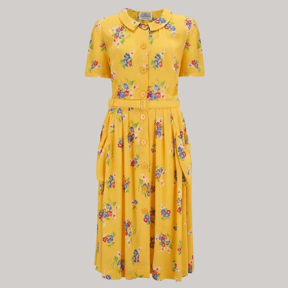 1940s Tea Dresses, Mature, Mrs. Long Sleeve Dresses Daphne Dress in Mimosa Print | Authentic Vintage 1940s Style $106.08 AT vintagedancer.com
