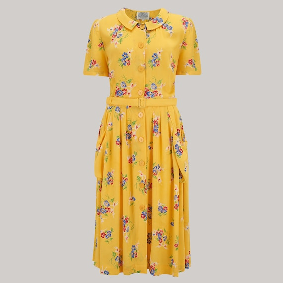 Swing Dance Clothing You Can Dance In Daphne Dress in Mimosa Print | Authentic Vintage 1940s Style $106.08 AT vintagedancer.com