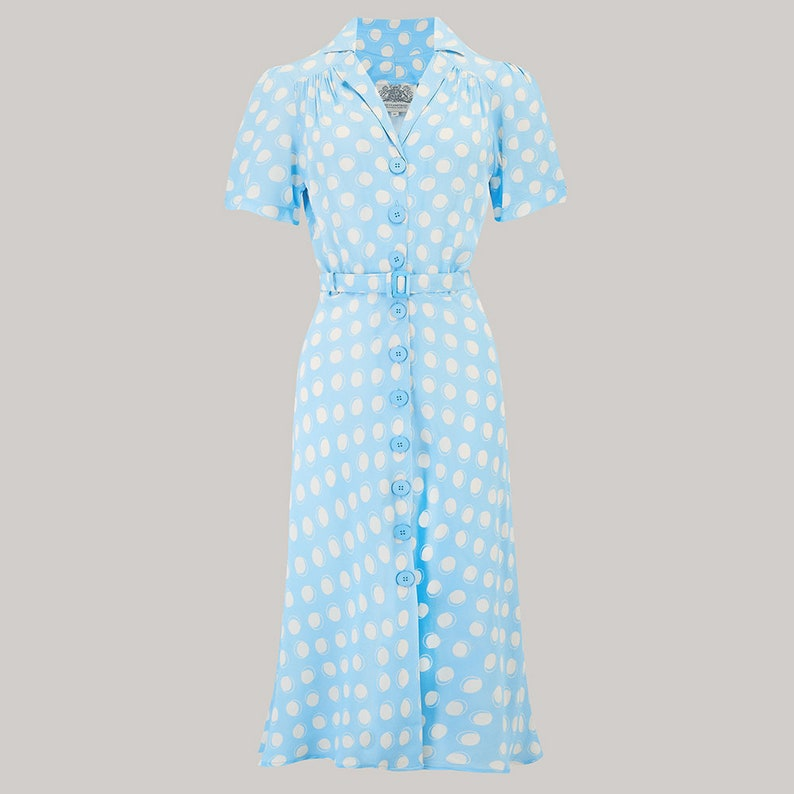 500 Vintage Style Dresses for Sale | Vintage Inspired Dresses Lisa Dress in Sky Blue Moonshine Spot by The Seamstress of Bloomsbury | Authentic Vintage 1940s Style $105.87 AT vintagedancer.com