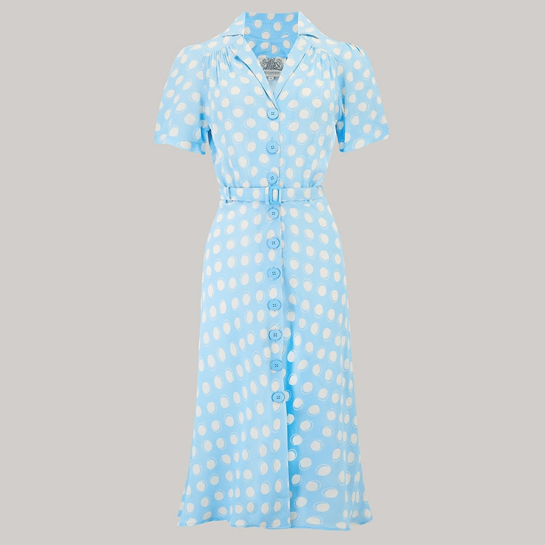 1940s Dresses | 40s Dress, Swing Dress Lisa Dress in Sky Blue Moonshine Spot by The Seamstress of Bloomsbury | Authentic Vintage 1940s Style $105.87 AT vintagedancer.com