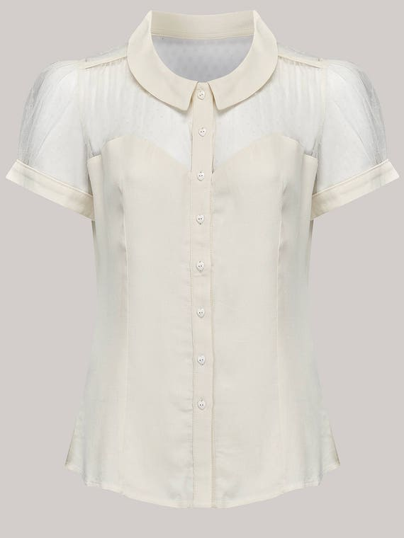 1940s Blouses and Tops  Florance Blouse in Cream by The Seamstress of Bloomsbury | Authentic Vintage 1940s Style $51.56 AT vintagedancer.com