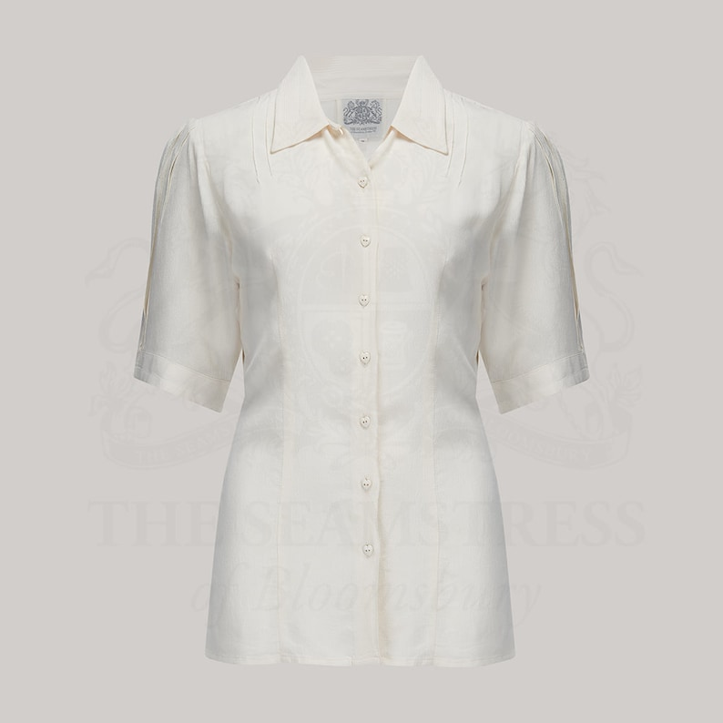 1940s Blouses and Tops Lucy Blouse in Cream by The Seamstress of Bloomsbury | Authentic Vintage 1940s Style $56.33 AT vintagedancer.com