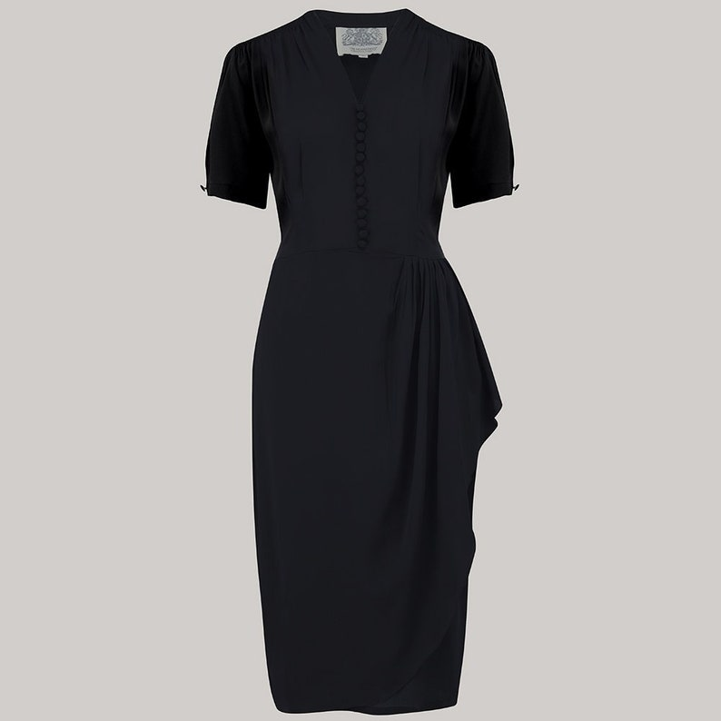 Vintage Inspired Dresses & Clothing UK Mabel Dress in Solid Black by The Seamstress of Bloomsbury | Authentic Vintage 1940s Style $98.85 AT vintagedancer.com