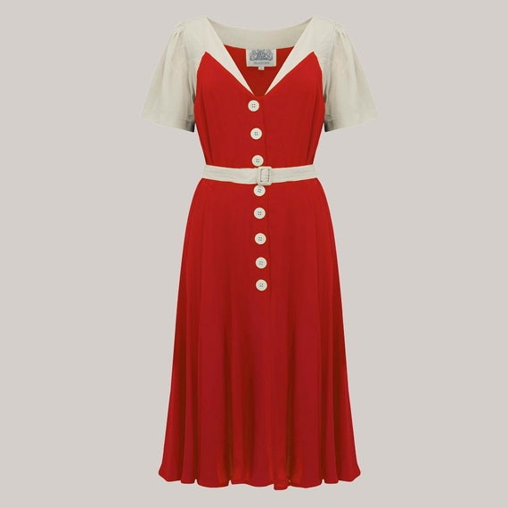 1940s Dresses and Clothing UK | 40s Shoes UK Rosalyn Dress in Red with Ivory Contrast | Authentic 1940s Vintage Style by The Seamstress of Bloomsbury $104.44 AT vintagedancer.com