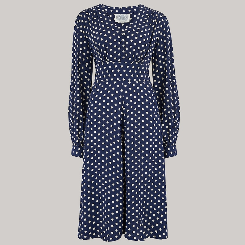 500 Vintage Style Dresses for Sale | Vintage Inspired Dresses Ava Dress in Navy Polka by The Seamstress of Bloomsbury | Classic 1940s Authentic Vintage Style $119.27 AT vintagedancer.com