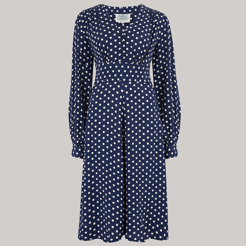 1940s Dresses | 40s Dress, Swing Dress Ava Dress in Navy Polka by The Seamstress of Bloomsbury | Classic 1940s Authentic Vintage Style $119.27 AT vintagedancer.com