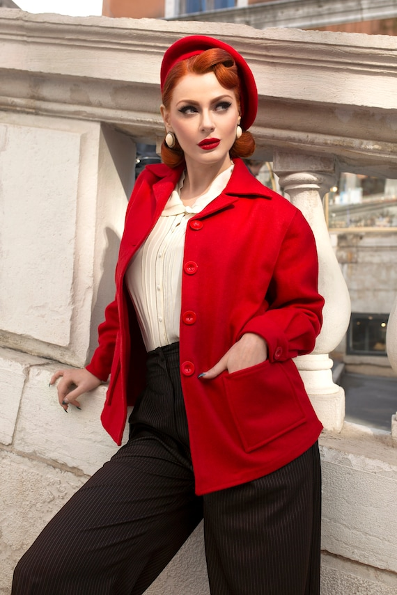 1940s Dresses and Clothing UK | 40s Shoes UK Pearl Jacket in 40s Red by The Seamstress of Bloomsbury | Authentic Vintage 1940s Style $114.11 AT vintagedancer.com