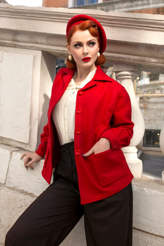 1940s Coats & Jackets Fashion History Pearl Jacket in 40s Red by The Seamstress of Bloomsbury | Authentic Vintage 1940s Style $114.11 AT vintagedancer.com