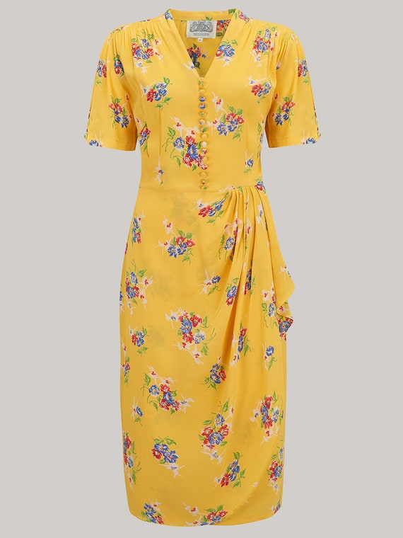 1940s Dresses | 40s Dress, Swing Dress Mabel Dress in Mimosa by The Seamstress of Bloomsbury | Authentic Vintage 1940s Style $104.44 AT vintagedancer.com