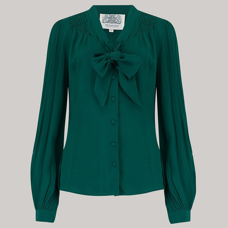1940s Blouses and Tops Eva Blouse in Green by The Seamstress of Bloomsbury | Authentic 1940s Inspired Designs $61.33 AT vintagedancer.com