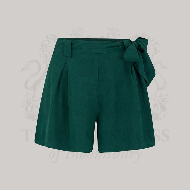 Vintage Shorts, Culottes,  Capris History Emma Tap Shorts in Solid Green by The Seamstress of Bloomsbury | Authentic Vintage 1940s Style $41.81 AT vintagedancer.com