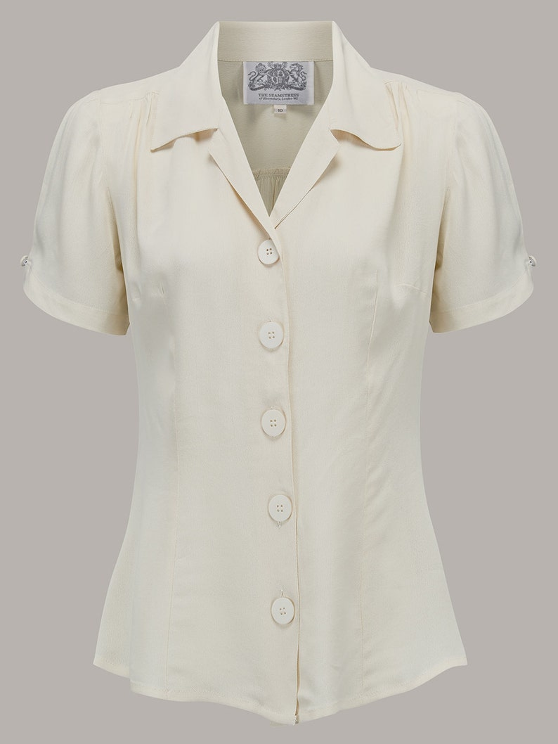 1940s Dresses and Clothing UK | 40s Shoes UK Grace Blouse in Cream by The Seamstress of Bloomsbury | Authentic Vintage 1940s Style $52.75 AT vintagedancer.com