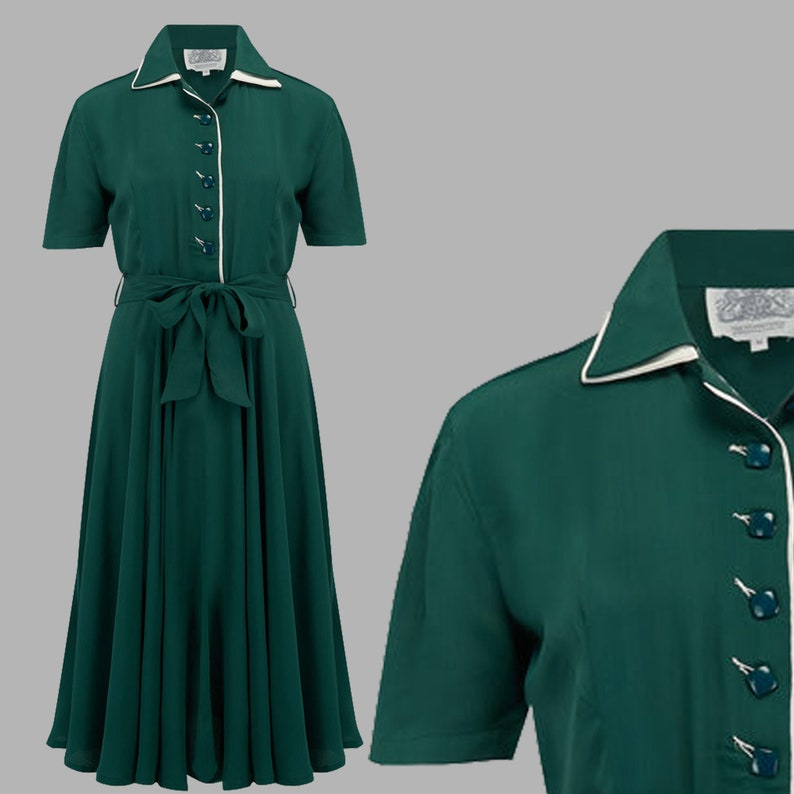 1940s Dress Styles Mae Dress in Vintage Green by The Seamstress of Bloomsbury | Authentic Vintage 1940s Style $107.00 AT vintagedancer.com