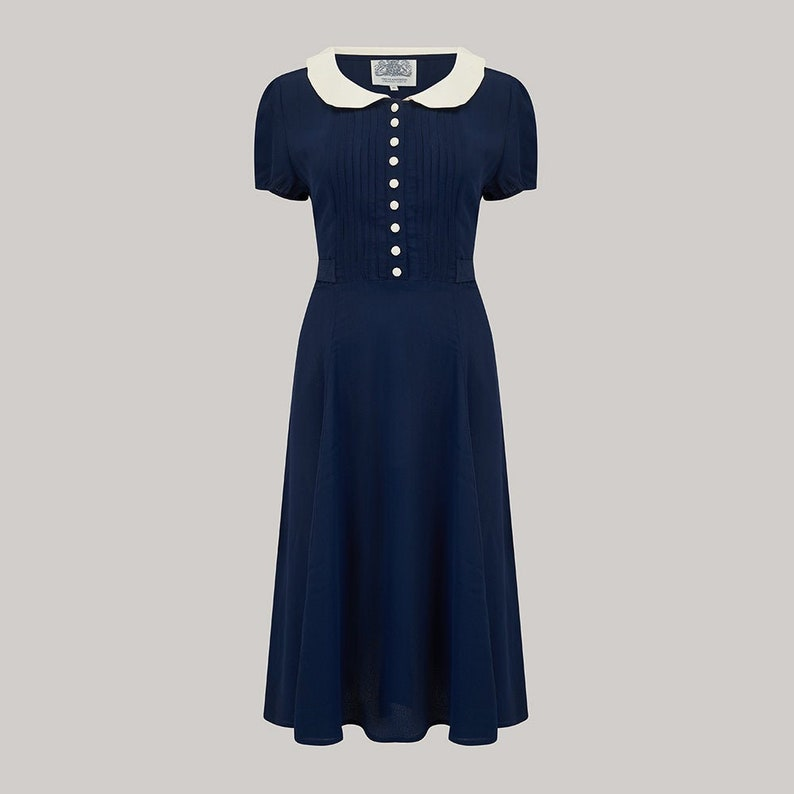 1940s Dress Styles Dorothy Dress in Navy with Ivory Contrast Collar by The Seamstress of Bloomsbury | Authentic Vintage 1940s Style $107.67 AT vintagedancer.com