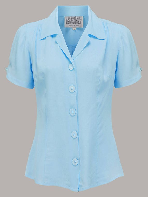 1940s Blouses and Tops  Classic 40's shape with a revere collar large buttons  $53.27 AT vintagedancer.com