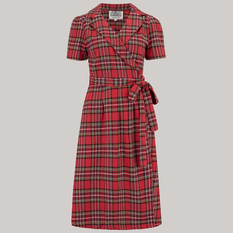 1940s Dresses | 40s Dress, Swing Dress Peggy Wrap Dress in Traditional Cotton Tartan by The Seamstress of Bloomsbury | 1940s Authentic Vintage Style Clothing $105.87 AT vintagedancer.com