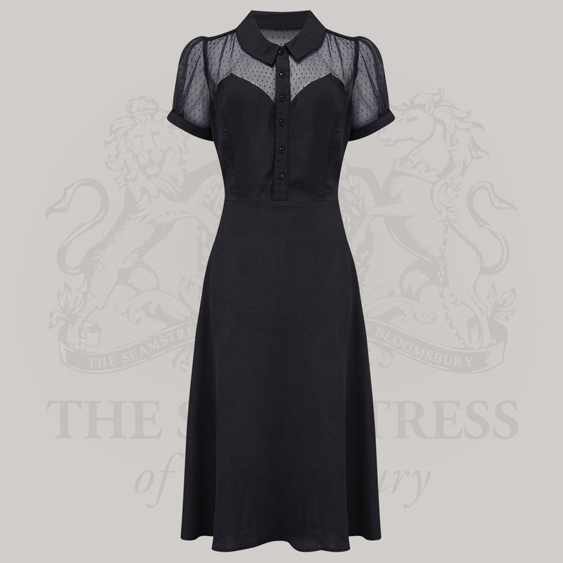 10+ Websites with 1940s Dresses for Sale Florance Dress in Black by The Seamstress of Bloomsbury | Authentic Vintage 1940s Style $114.46 AT vintagedancer.com