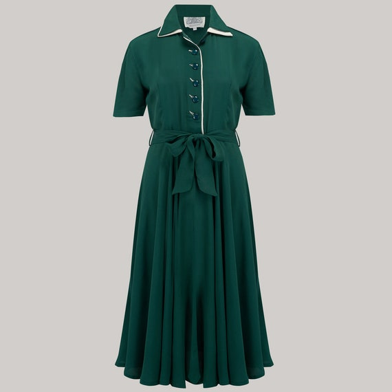 1940s Tea Dresses, Mature, Mrs. Long Sleeve Dresses Mae Dress in Vintage Green by The Seamstress of Bloomsbury | Authentic Vintage 1940s Style $106.08 AT vintagedancer.com