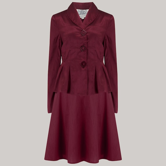 1940s Fashion Advice for Short Women Olivia 2pc Suit in Wine by The Seamstress of Bloomsbury | 1940s Authentic Vintage Inspired Clothing $170.35 AT vintagedancer.com