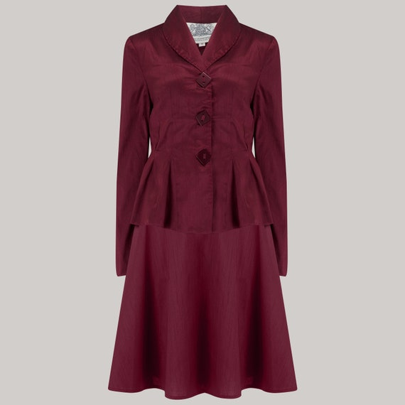 1940s Fashion Advice for Tall Women Olivia 2pc Suit in Wine by The Seamstress of Bloomsbury | 1940s Authentic Vintage Inspired Clothing $170.35 AT vintagedancer.com