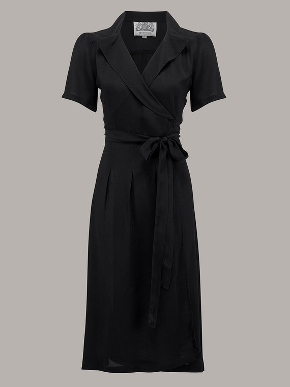 1940s Fashion Advice for Tall Women Peggy Wrap Dress in Black by The Seamstress of Bloomsbury | Authentic Vintage 1940s Style $104.44 AT vintagedancer.com