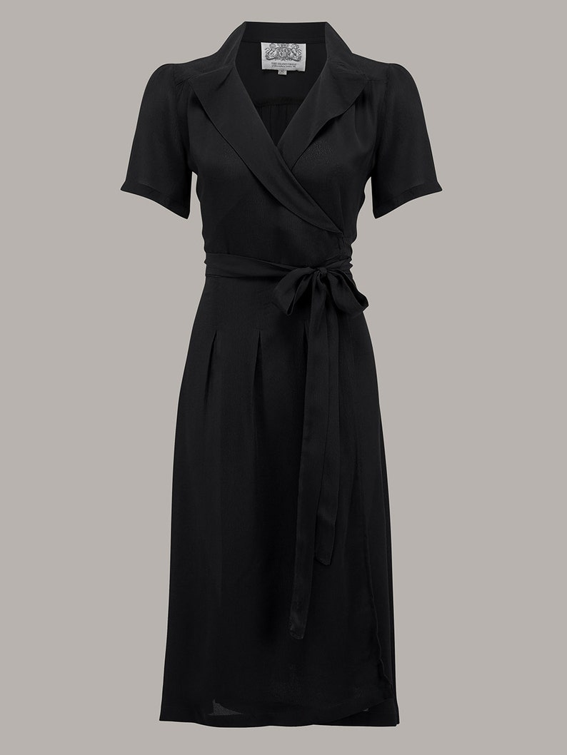 500 Vintage Style Dresses for Sale | Vintage Inspired Dresses Peggy Wrap Dress in Black by The Seamstress of Bloomsbury | Authentic Vintage 1940s Style $98.85 AT vintagedancer.com