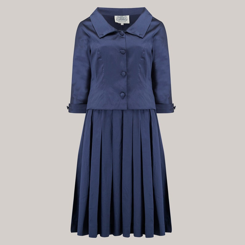 Women's 1940s Victory Suits and Utility Suits Josie 2pc Suit in Navy by The Seamstress of Bloomsbury | 1940s Authentic Vintage Inspired Clothing $181.14 AT vintagedancer.com