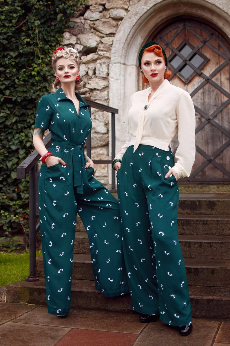 1940s Swing Pants & Sailor Trousers- Wide Leg, High Waist Lauren Siren Suit in Green Doggy by The Seamstress of Bloomsbury | Authentic Vintage 1940s Style $121.00 AT vintagedancer.com