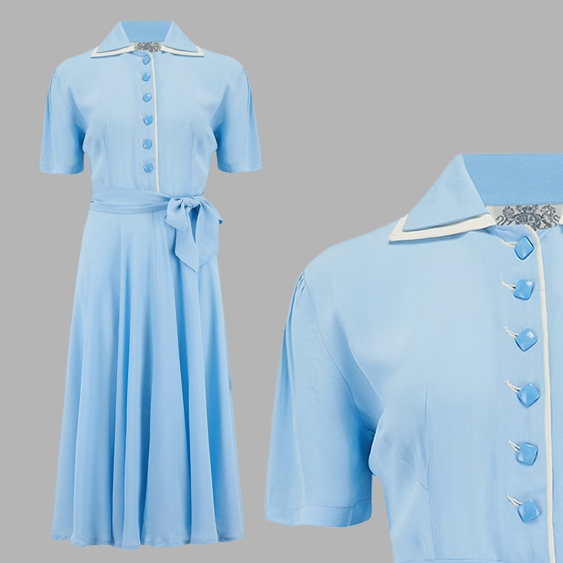 1940s Dress Styles Mae Dress in Powder Blue by The Seamstress of Bloomsbury | Authentic Vintage 1940s Style $107.00 AT vintagedancer.com