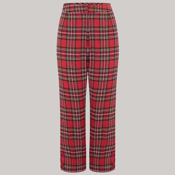 Vintage High Waisted Trousers, Sailor Pants, Jeans  Capri Pants in Check Tartan Cotton by The Seamstress of Bloomsbury | 1940s Authentic Vintage Inspired Style $72.71 AT vintagedancer.com