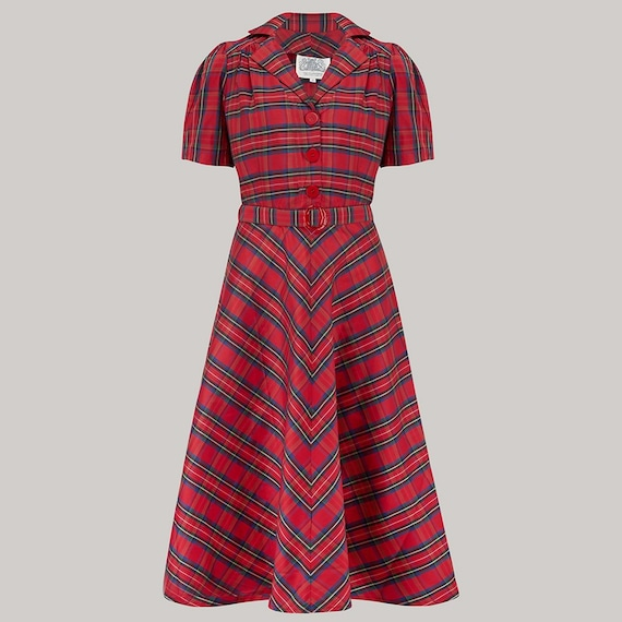1940s Clothing  Lisa Dress in Red Check Taffeta by The Seamstress of Bloomsbury | Authentic Vintage 1940s Style $104.44 AT vintagedancer.com