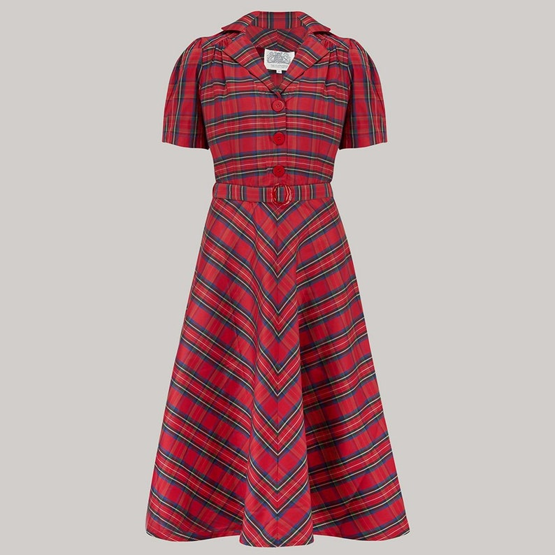 Vintage Style Dresses | Vintage Inspired Dresses Lisa Dress in Red Check Taffeta by The Seamstress of Bloomsbury | Authentic Vintage 1940s Style $113.83 AT vintagedancer.com