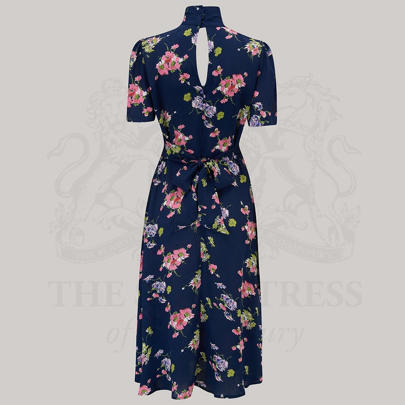 10+ Websites with 1940s Dresses for Sale Kathy Dress in Navy Mayflower Print by The Seamstress of Bloomsbury | Authentic Vintage 1940s Style $114.46 AT vintagedancer.com