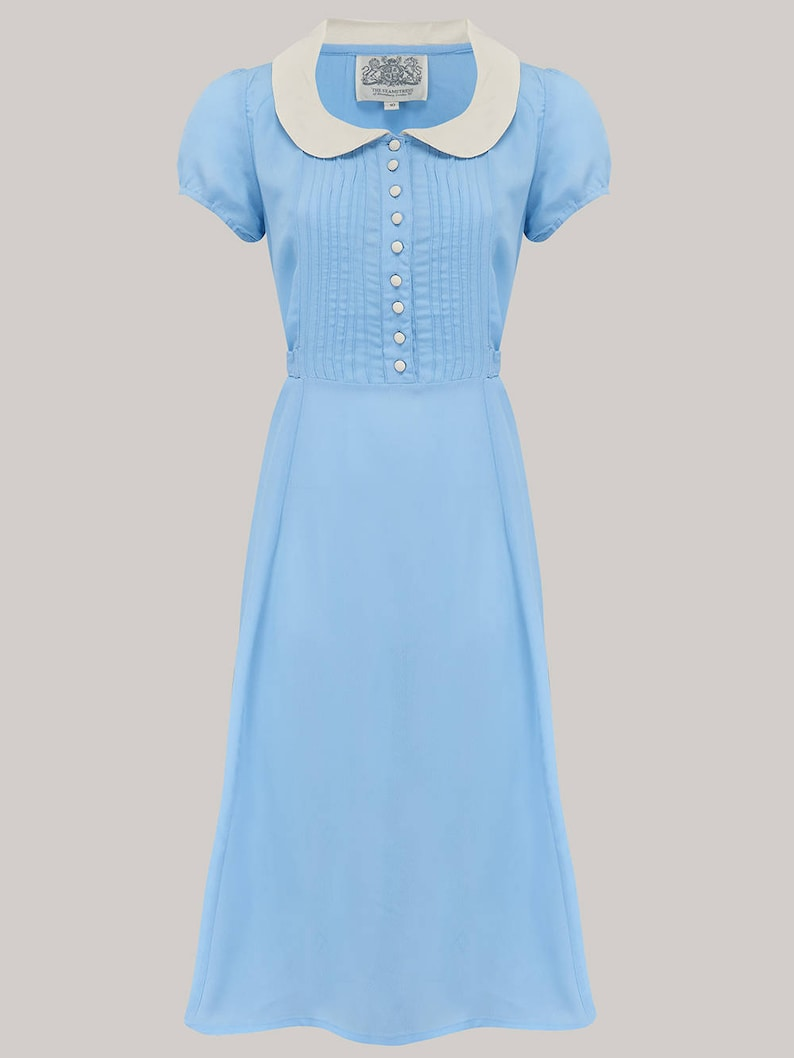10+ Websites with 1940s Dresses for Sale Dorothy Dress in Powder Blue with Ivory Collar by The Seamstress of Bloomsbury | Authentic Vintage 1940s Style $113.38 AT vintagedancer.com