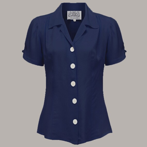 1940s Blouses and Tops Grace Blouse in Navy by The Seamstress of Bloomsbury | Authentic Vintage 1940s Style $51.56 AT vintagedancer.com