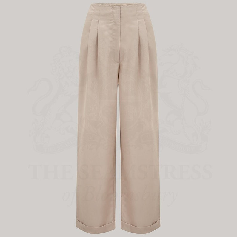 1940s Swing Pants & Sailor Trousers- Wide Leg, High Waist Tailored Trousers | High Waisted Wide Leg Womens Trousers by The Seamstress of Bloomsbury | 1940s Authentic Vintage Style $85.20 AT vintagedancer.com