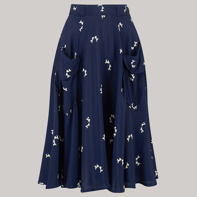 1940s Teenage Fashion: Girls Thelma Skirt in Navy Doggy Print by The Seamstress of Bloomsbury | Authentic Vintage 1940s Style $70.99 AT vintagedancer.com