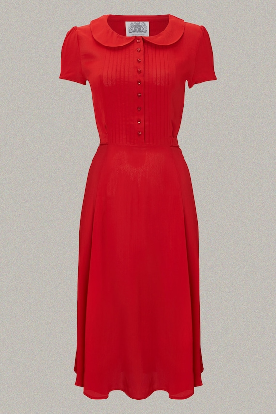 How to Wear 1940s Women's Fashion Dorothy Dress in 40s Red by The Seamstress of Bloomsbury | Authentic Vintage 1940s Style $107.66 AT vintagedancer.com