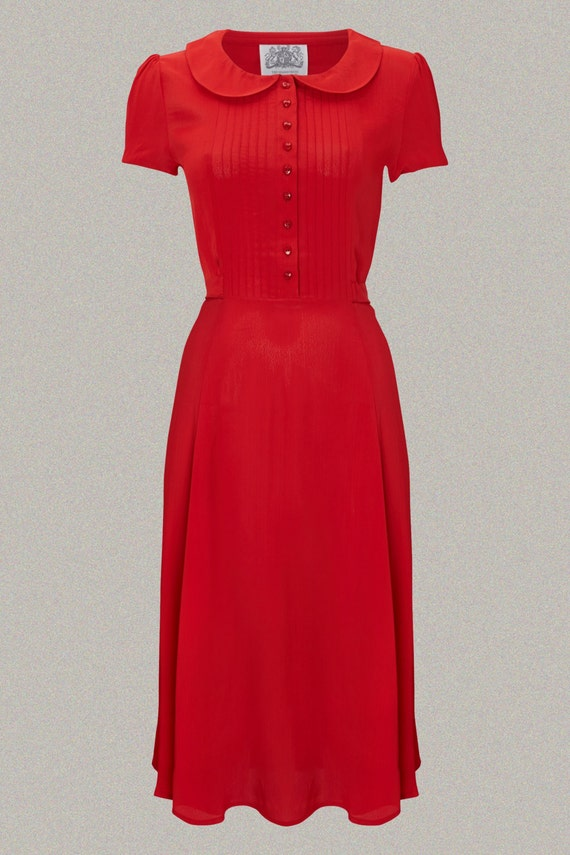 Vintage Tea Dresses, Floral Tea Dresses, Tea Length Dresses Dorothy Dress in 40s Red by The Seamstress of Bloomsbury | Authentic Vintage 1940s Style $107.66 AT vintagedancer.com